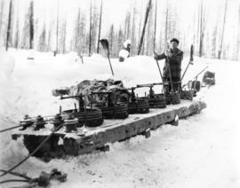 B. C. Spruce Mills, Lumberton, B. C. [ man operating hill brake]