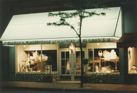 Buchan's Kerrisdale Stationary storefront at night