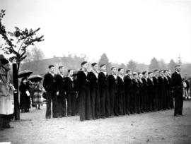 "[Navy League Cadets at dedication of the foremast of H.M.C.S. ""Vancouver"" at Kitsilano ..."