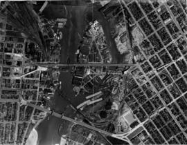 "[Aerial map of entrance to False Creek showing Burrard Bridge, Kitsilano Bridge, ""old"" ..."