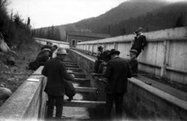 Capilano : [U.B.C. students] working on the flume