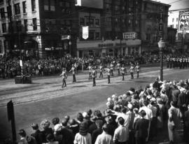 R.C.M.P. marching in 1952 P.N.E. Opening Day Parade