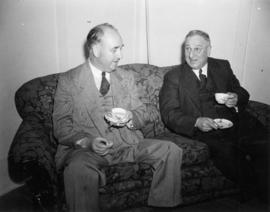 Unidentified dignitary and Nanaimo Mayor V. Harrison at tea party