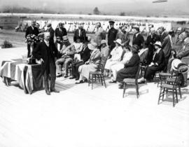 Opening ceremonies of Vancouver Exhibition, including Vancouver Mayor L.D. Taylor and Lieutenant-...
