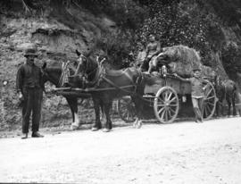 [Officers, a civilian and a hay wagon]