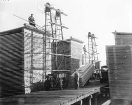Eagle Lake Sawmills, Giscome, B.C.  Lumber piling in the yards
