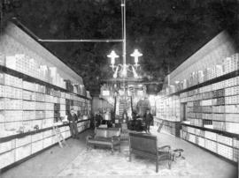 [Interior of J.A. Pykes shoe store  at 518 West Hastings Street]
