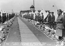 1st Depot Battalion at Hastings Park - Inspection by Major General John Hughes