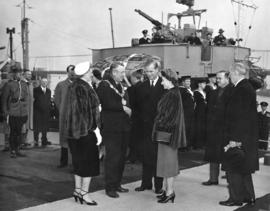 [His Worship and Mrs. Fred J. Hume greet H.R.H. Princess Elizabeth and H.R.H. Philip Duke of Edin...