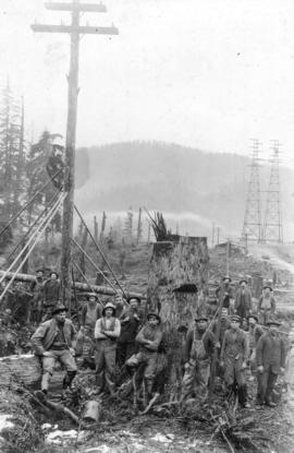 [The crew after erecting the last B.C.E.R. transmission line pole]