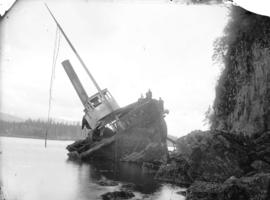 Steamship Beaver wrecked on Prospect Point, first steamer on Pacific Ocean, 1835