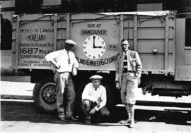 [Men with Moreland six wheel six cylinder transport truck]