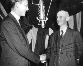 [Graham F. Towers congratulates A.M. Wastell, Chairman of the Alert Bay Victory Loan program]