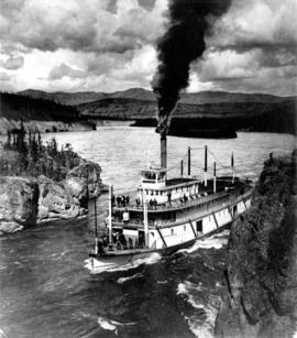 "Sternwheeler ""White Horse"" ascending the Yukon River."