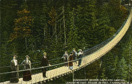 [Group of men and women on] Suspension Bridge, Capilano Canyon, length 450 feet, height 200 feet,...