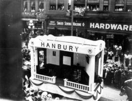 [The Hanbury float in the 600 Block of Granville Street during a Victoria Day parade]