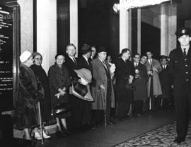 [People line up in the lobby of the Hotel Vancouver to see Her Majesty Queen Elizabeth and His Ro...