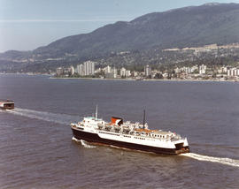 "Aerial view of CP car ferry, ""Princess of Vancouver"" with North Vancouver in background"