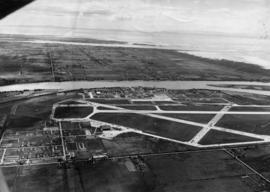 [Aerial view of Vancouver International Airport looking south]