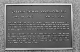 Captain George Vancouver monument - tablet detail