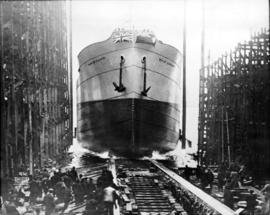 "[Launching of ""War Camp"" from J. Coughlan and Sons shipyard]"