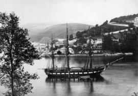 [View of ship at anchor off] Dartmouth