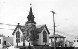 [Exterior of Knox Presbyterian Church - corner of Sherbrooke and Columbia Streets]