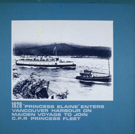 Princess Elaine enters Vancouver Harbour on maiden voyage to join the C.P.R. Princess fleet