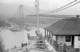 [View from the Prospect Point signal station of the Lions Gate Bridge under construction]