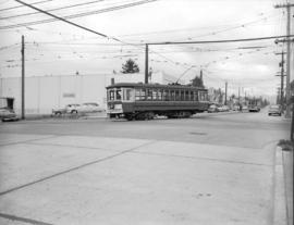 [View of B.C. Electric street cars on Dunbar Street from 41st Avenue]