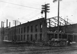 [B.C. Electric Railway Co. power house under construction - Westminster Avenue (Main Street)]