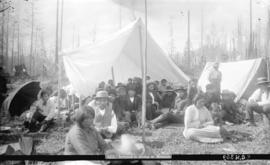 Indians in camp at Mission