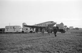 "[The ""Mainliner"", a fire truck and portable first aid station at airshow]"