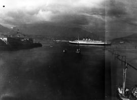 "[S.S. ""Princess Marguerite"" leaving Vancouver Harbour after visit of King George VI and..."