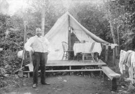 [Joe (Seraphim) Fortes in front of his tent at English Bay]