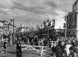 [View of Georgia Street looking east from Chilco Street during visit of King George VI and Queen ...