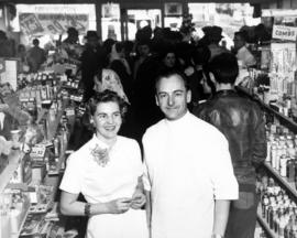 Fishers [Lena and George] at opening of Drug Store