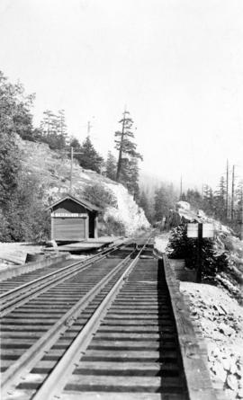 Station stop at Caulfeild, West Vancouver on the P[acific].G[reat].E[astern]. [Railway] to Horses...