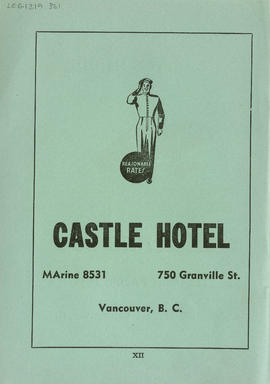 Sectional map and street directory of Vancouver, British Columbia : Castle Hotel advertisement