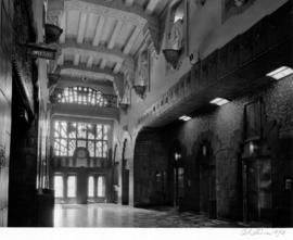 Marine Building, 355 Burrard Street, lobby and elevators