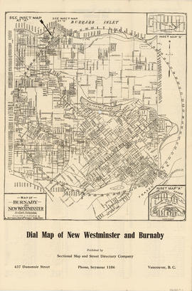 Dial map of New Westminster and Burnaby