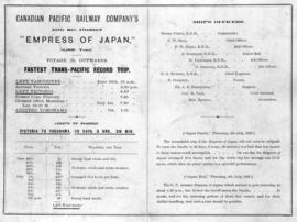 "[An advertisement for the ""Empress of Japan"" with quotes from the Japan Gazette and Jap..."