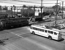 [View of the first trolley bus and last Vancouver Lulu Island inter urban tram at 41st Avenue and...