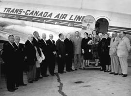 [Lady Lowson and Sir Denys C.F. Lowson, Lord Mayor of London prior to boarding a Trans-Canada Air...