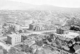 [Birds eye view of Vancouver looking east from tower of Holy Rosary Church]