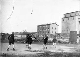 Lacrosse [game in progress at Recreation Park - ground level view.]