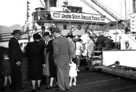 "[Dockside scene as Union employees and families board S. S. ""Lady Alexandra"" for Union ..."