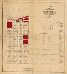 Plan of part of sub-division of district lot 540, South Vancouver, provincial government property