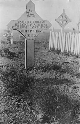"Grave of Major R. F. Markham, reads in part ""Killed in Action"""