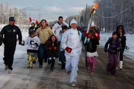 Day 94 Torchbearer 42 Samantha Davis runs in Saulteau, British Columbia
